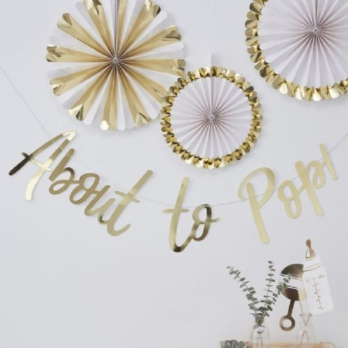 Oh Baby Gold Foiled 'About To Pop' Letter Banner (each)